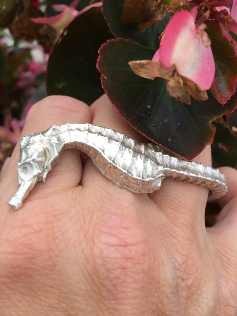 Sea Horse Double Sterling Silver Ring Two finger ring image 0