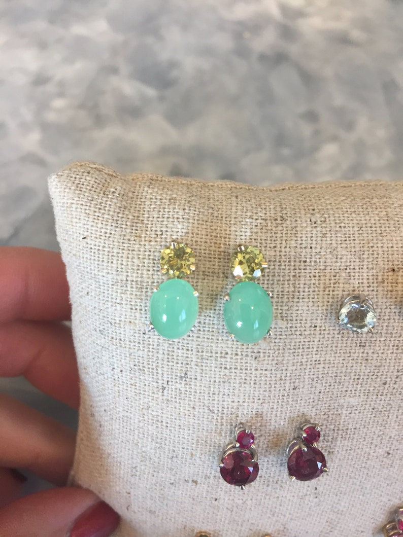 Chrysoprase or Mali Garnet faceted Stud earrings Gold and image 0