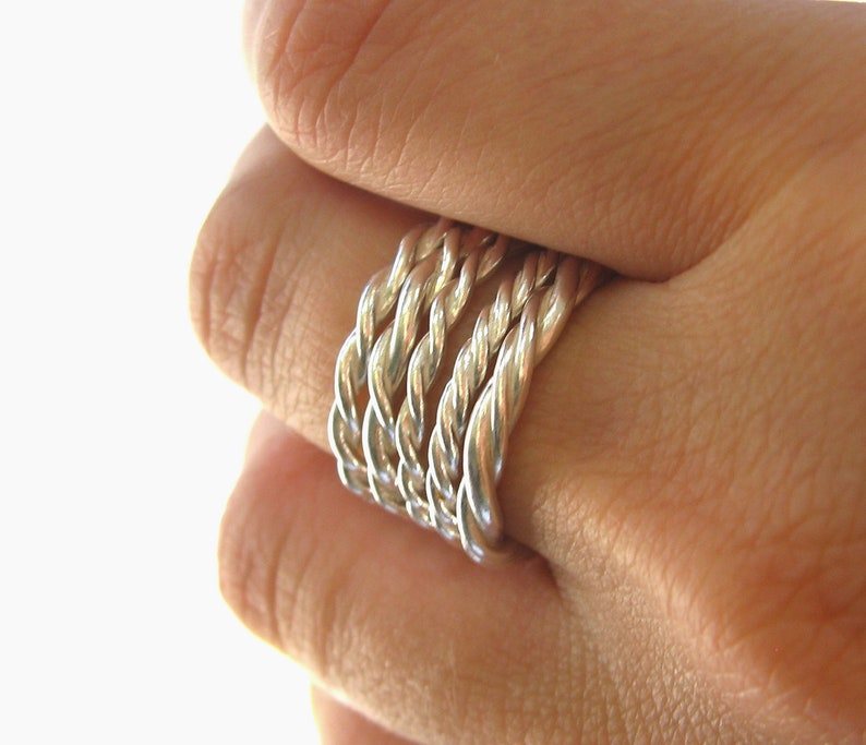 Twisted Sterling Silver Stacking Bands Set of 5 Stack rings image 0