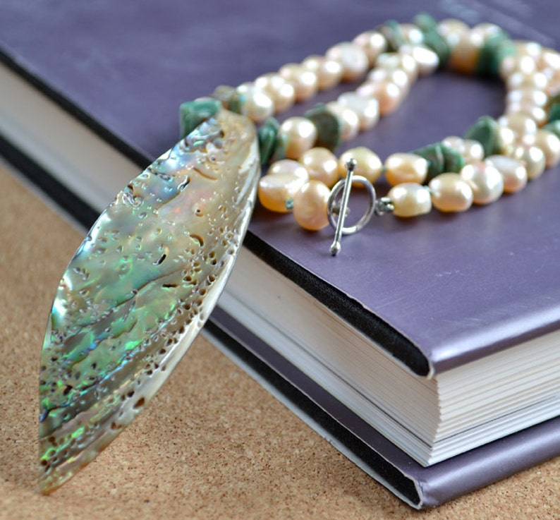 READY TO SHIP Abalone Iridescent Shell Pendant with pink image 0