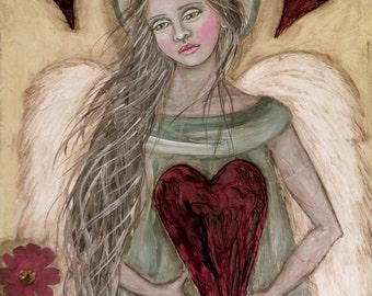 """Folk Art Angel """"Hearts and Flowers"""" 8"""" x 10"""" PRINT of Original Painting by Lore"""