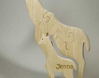 Wooden Giraffe Puzzle, Wooden Giraffe Toy, Giraffe Puzzle, Giraffe Toy, Personalized Toy, Personalized Puzzle