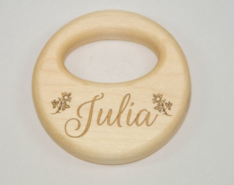 Wooden Rattle, Baby Rattle Personalized, Wood Rattle, Organic Wooden Rattle, Personalized Rattle, Wooden Rattle Toy