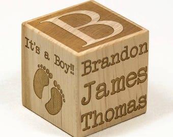 Personalized Wooden Name Block, Baby Block, Newborn Baby Gift, Nursery Decor, Baptism Gift, Engraved Baby Block, Personalized Block,