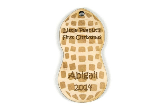 image 0 - Baby's First Christmas Ornament Wooden Peanut Etsy