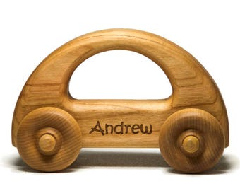 Personalized Wooden Toy Car for Toddlers, Montessori Waldorf Toy Car - First Birthday Gift Baby Shower Gift