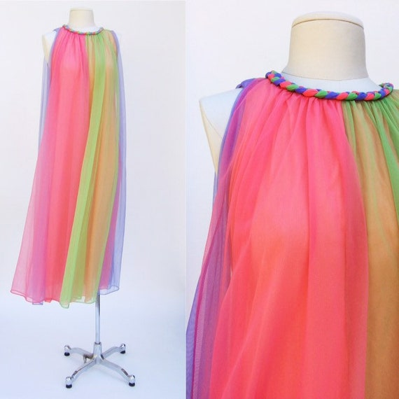 Sheer Rainbow Dress // Pastel Trapeze Gown