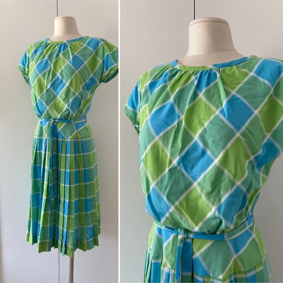 50s Plaid Dress // Vintage Lorch Pleated Dress