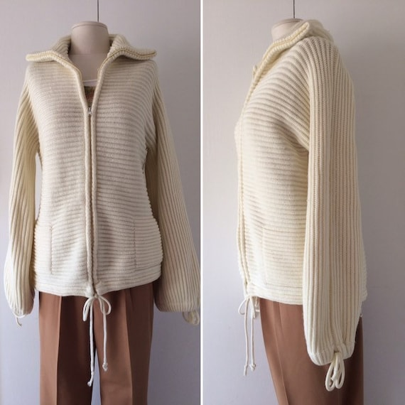 Cream Oversized Cardigan // Zip Up Sweater