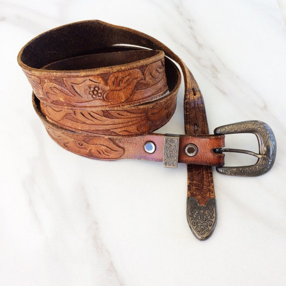 50s Tooled Leather Belt // Sterling Silver Buckle