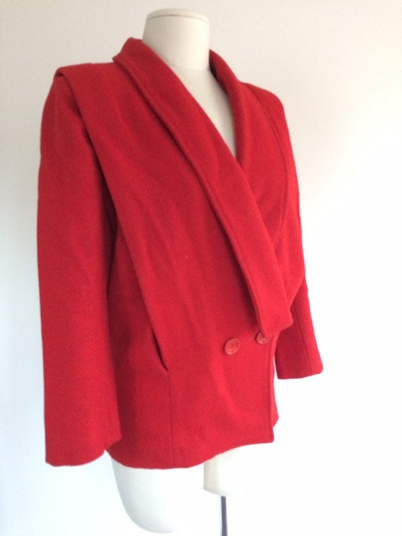 Red Wool Shawl Collar Coat
