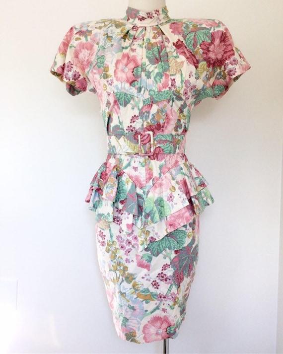 Designer 80s Dress // Floral Karen Alexander Dress