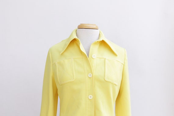 70s Collar Shirt // Polyester Yellow Shirt Jacket
