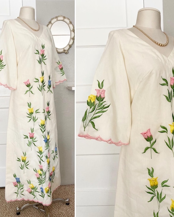 70s Embroidered DRESS // Bohemian Bell Sleeve Wedd