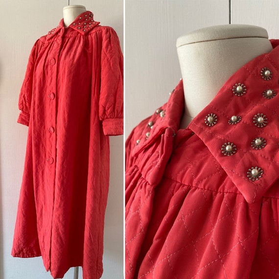 1940s Quilted Robe with Studded Collar // 40s Loun