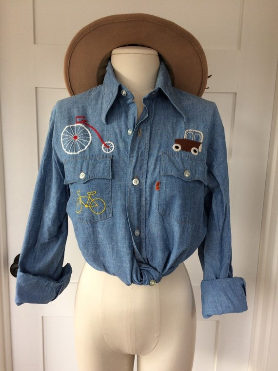 Levi's Denim Shirt // embroidered Bicycle Unicycle