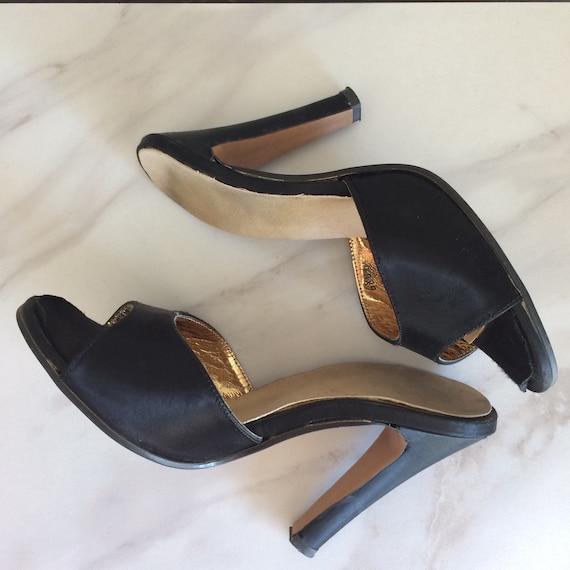 50s Peep Toe Mule // 1950s Black Stilettos // Slid