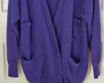 ff352f6a2c Vintage Umberto Ginocchietti Women s Purple Cardigan Sweater Size 38 1980s  Made in Italy