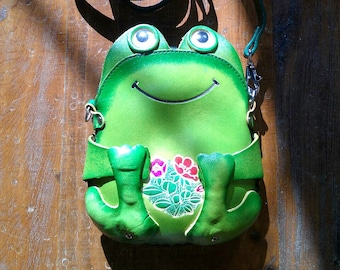 Leather Women Bag, Leather Bag, Handbag, Clutch, Leather Cross Bag, Frog Bag, Cross Body Bag, Owl Bag,Purse Bag, Strap Bag