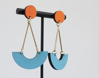 Wood and Brass Geometric Statement Earrings   90s fashion   Big colorful earrings   Oversized earrings   Sustainable Fashion