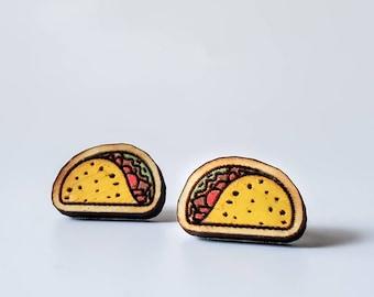 Mini taco earrings    Mini food earrings   wood stud earrings   cute and funny   tiny food studs   weird earrings
