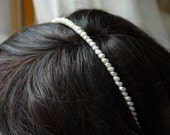 rice pearl headband, freshwater ivory rice pearl silver alice band tiara for wedding bridesmaid or flowergirl