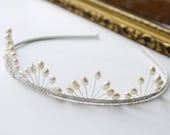 pearl wedding tiara freshwater ivory rice pearl silver tiara alice band headband, fan band design, for bride