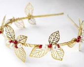 Christmas leaves pearl tiara- freshwater pearl, filigree leaves red white gold wedding headband headpiece