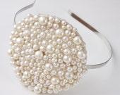 large circle tiara of mixed freshwater ivory pearls silver wedding side tiara headband