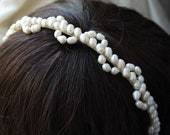 lace pearl tiara - freshwater pearl headband ivory rice pearl silver tiara alice band for bride, wedding
