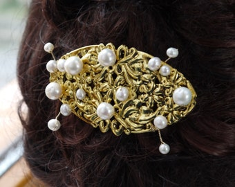pearl & gold hair barrette - freshwater ivory white round pearl gold filligree wedding hair clip slide