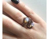 Moonstone Opal Opalite Gemstone Ring Wire Wrapped Ring Adjustable Gemstone Jewellery