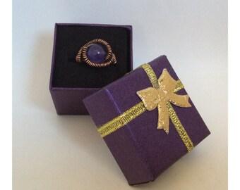 Amethyst  Gemstone Ring Wire Wrapped Ring Gemstone Jewellery Hippie Boho Size L