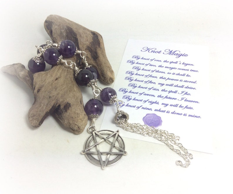 Amethyst Witches Ladder Pagan Wiccan Pentagram Pentacle Knot Magic Prayer  Beads