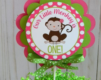 Monkey Cake Topper, Monkey Smash Cake Topper, Monkey Pink and Green Party Decor, Monkey Circle Cake Topper, Girl Monkey First Birthday