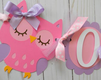 Owl High Chair Banner Birthday Party Decor First Supplies