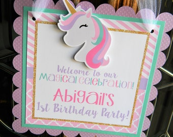 Unicorn Door Sign Hanger Welcome Party Birthday Decorations