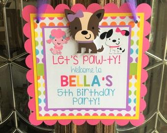 Puppy Dog Door Sign Party Decor Hanger Supplies Birthday Welcome
