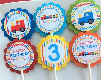 Train Birthday Party Personalized Cupcake Toppers