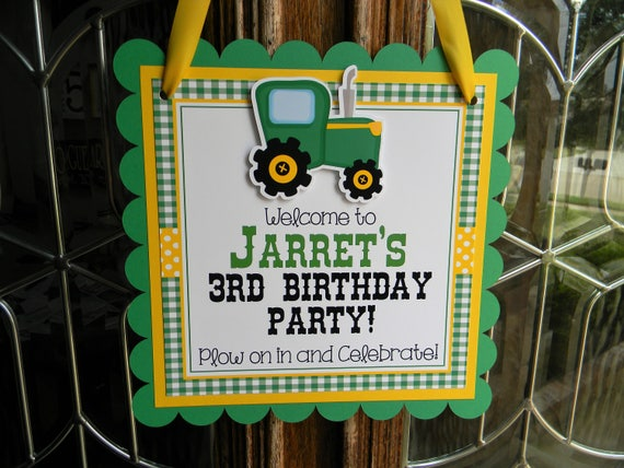 Personalised ANY NAME Party Decorations Tractor 4th Birthday Banner x 2