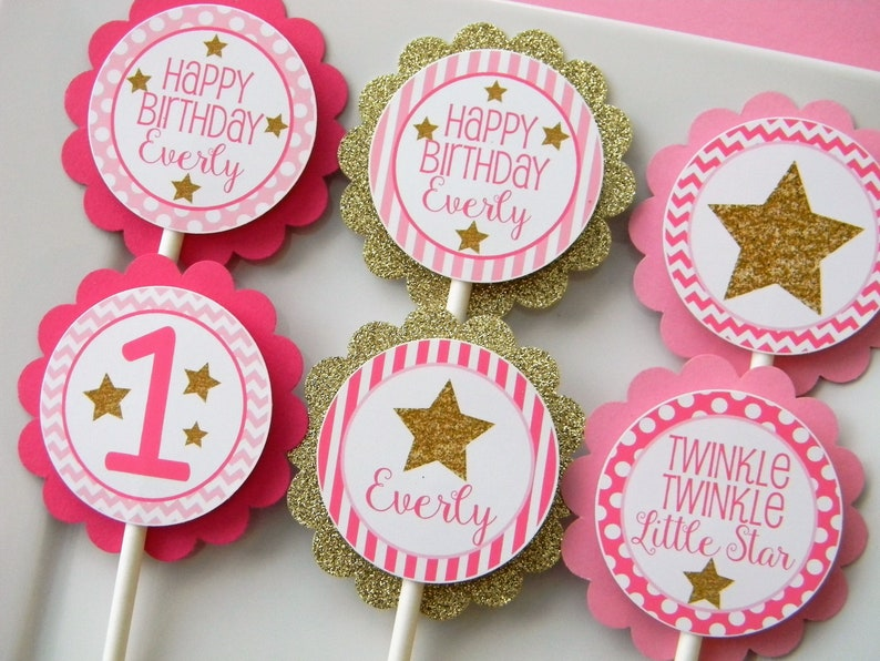 Party Decor Set of 12 Little Star Cupcake Toppers Star Cupcakes