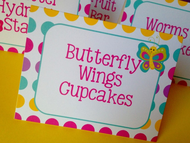 Butterfly Birthday Party Personalized Printed Food Labels Tent Cards - Placecards - Butterfly Party Decorations - Set of 8