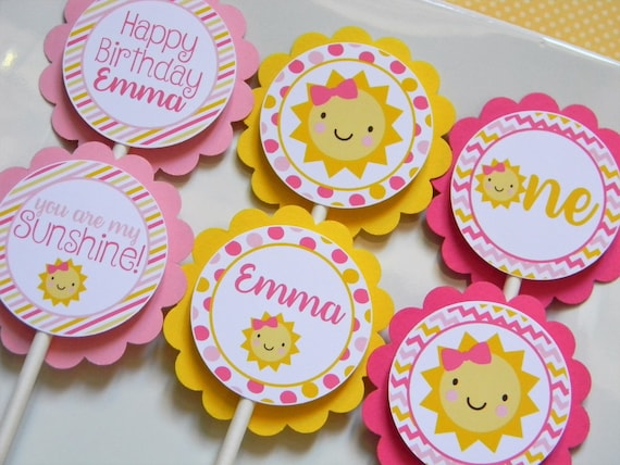 You Are My Sunshine Cupcake Toppers Sunshine Party Decorations Sunshine Party Supplies Sunshine Birthday Party Sunshine Party Set Of 12