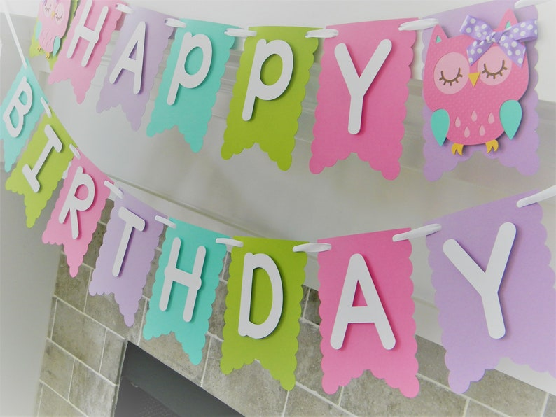 Pennant Banner Owl Banner Owl Party Decorations Owl Happy Birthday Banner