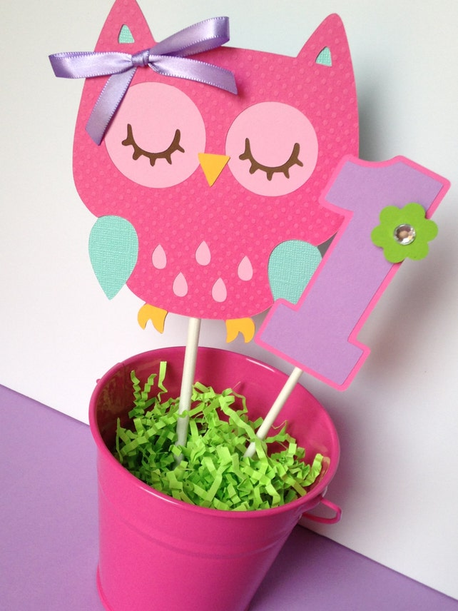 Owl Birthday Party Personalized Smash Cake Topper In Pink Purple Teal And Green