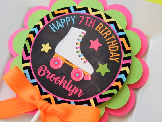 Fine Neon Roller Skate Cake Topper Party Decoration Birthday Cake Etsy Personalised Birthday Cards Petedlily Jamesorg