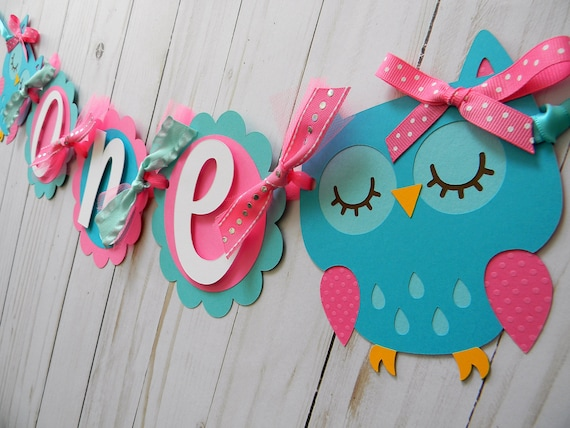 Owl High Chair Banner Birthday Party