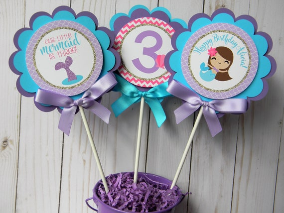 Mermaid Centerpiecs Centerpiece Sticks Birthday Decor Table Decorations Party Set Of 3