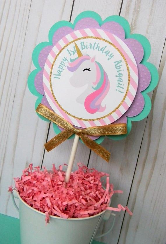 Unicorn Cake Topper Smash First Birthday Party Decorations Decor