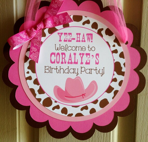 Cowgirl Door Sign Cowgirl Party Decorations Cowgirl Door